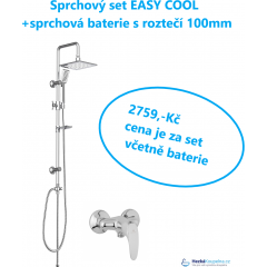 Sprchový set s tropickým deštěm EASY COOL včetně sprchová baterie s roztečí 100mm