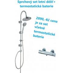 Sprchový set včetně termostatické baterie s roztečí 150 mm -letní déšť