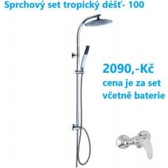 Sprchový set s tropickým deštěm STILOVAL včetně baterie s roztečí 100