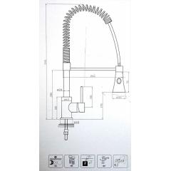 Dřezová stojánková baterie Profi kuchyňská baterie s vytahovací sprškou- nikl
