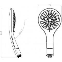 Ruční masážní sprcha 5 režimů sprchování, průměr 115mm, černá/chrom BROADWAY (60760)