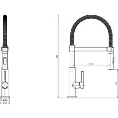 Dřezová stojánková baterie s výsuvnou sprškou MIAMI černá matná/chrom  (79146)