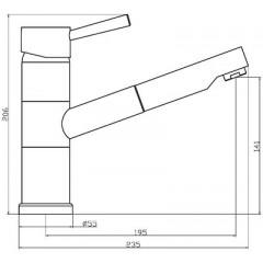 Dřezová stojánková baterie s výsuvnou sprškou UNICORN, chrom