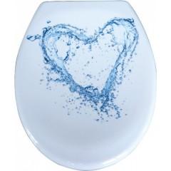 Duroplastové sedátko se zpomalovacím mechanismem SOFT-CLOSE BLUE HEART