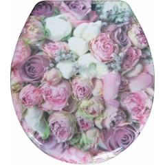 Duroplastové sedátko se zpomalovacím mechanismem SOFT-CLOSE Bunch of Roses