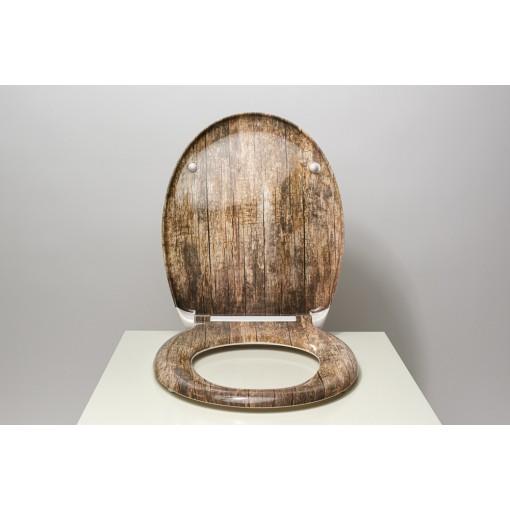 Duroplastové sedátko se zpomalovacím mechanismem SOFT-CLOSE Old wood
