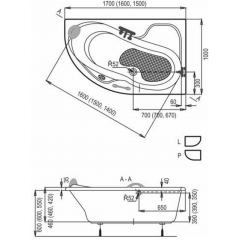 Masážní vana LAURA KOMBI pneu 150x100 cm