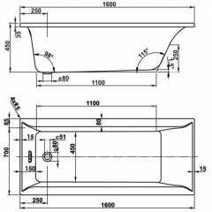 Hydromasážní vana VERONELA HYDRO pneu 160x70 cm