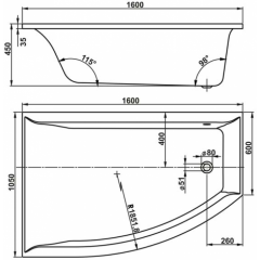 Hydromasážní vana VERONELA HYDRO pneu polorohová 160x105 cm