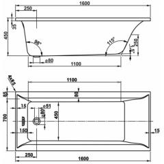 Masážní vana VERONELA KOMBI pneumatické ovládání 170x75 cm