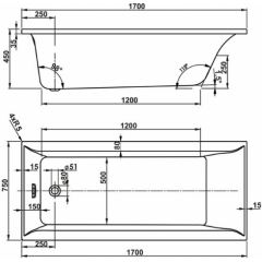Hydromasážní vana VERONELA HYDRO pneu 170x75cm
