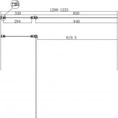 Vanová zástěna PURE V2 120x140cm - dvoudílná s pevným dílem, čiré sklo