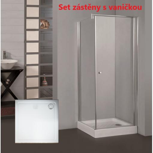Pure A1 90 cm  Sprchová zástěna 90x90x190cm s otočnými dveřmi a vaničkou z litého mramoru