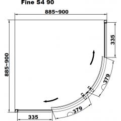 Sprchová zástěna Fine S4 90 se sprchovou vaničkou z litého mramoru