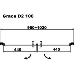 Sprchové dveře Grace D2 dvoukřídlé 100 x190 cm