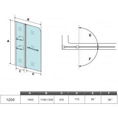 Vanová zástěna s pevnou stěnou V2 120 cm, čiré sklo
