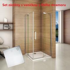 Čtvercový sprchový kout AIRLINE R909, 90x90 cm, se dvěma jednokřídlými dveřmi s pevnou stěnou, rohový vstup včetně sprchové vaničky z litého mramoru