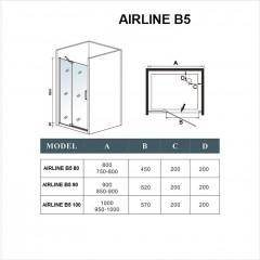 Sprchové dveře AIRLINE B5 80 jednokřídlé s pevnou stěnou 75-80 x 195 cm, L/P varianta