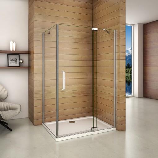 Čtvercový sprchový kout AIRLINE A1 90 cm s jednokřídlými dveřmi s pevnou stěnou včetně sprchové vaničky z litého mramoru