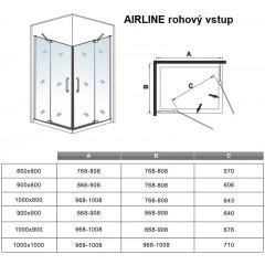 Obdélníkový sprchový kout AIRLINE R109, 100x90 cm, se dvěma jednokřídlými dveřmi s pevnou stěnou, rohový vstup