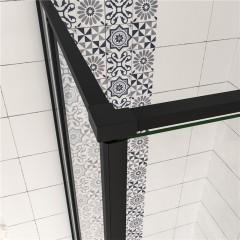 Čtvercový sprchový kout BLACK SAFIR R808, 80x80 cm, se dvěma jednokřídlými dveřmi s pevnou stěnou, rohový vstup včetně sprchové vaničky z litého mramoru