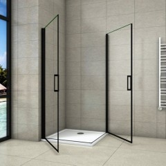 Sprchový kout BLACK SAFIR A2 90cm se dvěma jednokřídlými dveřmi včetně sprchové vaničky z litého mramoru