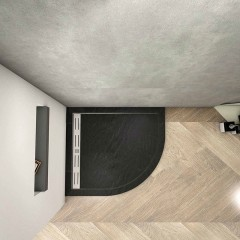 BLACK STAR sprchová vanička z litého mramoru, čtvrtkruh, 90x90x3 cm