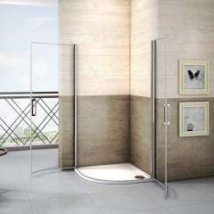 Čtvrtkruhová sprchová zástěna LUREN S2 90 cm, čiré sklo, R550 včetně sprchové vaničky z litého mramoru
