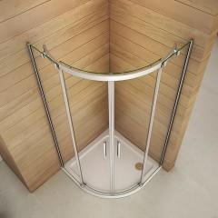 Čtvrtkruhový sprchový kout HARMONY S4 90 cm s dvoudílnými posuvnými dveřmi a sprchovou vaničkou z litého mramoru