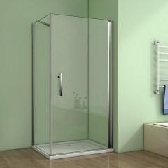 Čtvercový  sprchový kout MELODY A1 90 cm s jednokřídlými dveřmi  včetně sprchové vaničky z litého mramoru