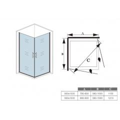 Sprchový kout MELODY A109 100x90 cm se dvěma jednokřídlými dveřmi včetně sprchové vaničky