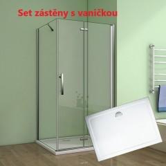 Obdélníkový sprchový kout MELODY 110x80 cm se zalamovacími dveřmi včetně sprchové vaničky z litého mramoru