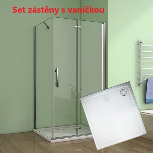 Čtvercový sprchový kout MELODY 90x90 cm se zalamovacími dveřmi včetně sprchové vaničky z litého mramoru
