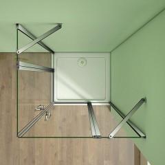 Sprchový kout MELODY A2 90 cm se dvěma jednokřídlými dveřmi s pevnou stěnou a vaničkou z litého mramoru