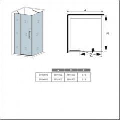 Čtvercový sprchový kout MELODY B5 90x90 cm s jednokřídlými dveřmi s pevnou stěnou včetně sprchové vaničky z litého mramoru