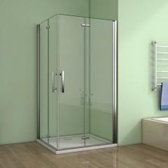 Obdélníkový sprchový kout MELODY R109, 100x90 cm se zalamovacími dveřmi včetně sprchové vaničky z litého mramoru