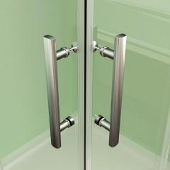 Obdélníkový sprchový kout MELODY R908, 90x80 cm se zalamovacími dveřmi včetně sprchové vaničky z litého mramoru