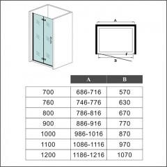 Zalamovací dveře MELODY B8 88,6-91,6 x 195 cm, sklo GRAPE, levá varianta