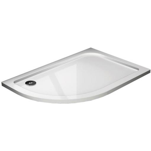 THOR Sprchová vanička z litého mramoru, čtvrtkruh, R550 120x80x3 cm, pravá varianta