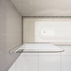 Vanová zástěna S1 STRIPE 80x140cm - jednodílná sklopná, čiré sklo se vzorem