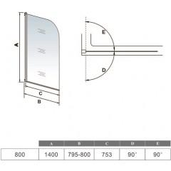 Vanová zástěna S11 FLAG 80x140cm - jednodílná sklopná, čiré sklo