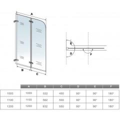 Vanová zástěna S2 CLEAR 110x140cm - dvoudílná sklopná, čiré sklo