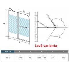 Vanová zástěna S2 STRIPE 120x140cm - dvoudílná sklopná, čiré sklo se vzorem