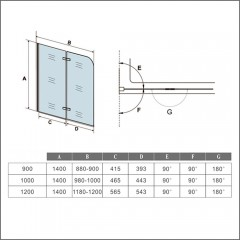 Vanová zástěna S22 110x140cm - dvoudílná sklopná, čiré sklo
