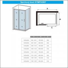 Obdélníkový sprchový kout SYMPHONY 120x80 cm s posuvnými dveřmi
