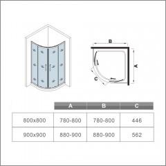 Čtvrtkruhový sprchový kout SYMPHONY S4 80 cm s dvoudílnými posuvnými dveřmi