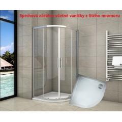 Čtvrtkruhový sprchový kout SYMPHONY S4 90 cm s dvoudílnými posuvnými dveřmi včetně sprchové vaničky z litého mramoru