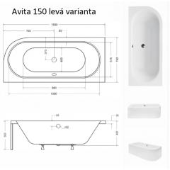 Asymetrická vana AVITA 150 x 75 cm