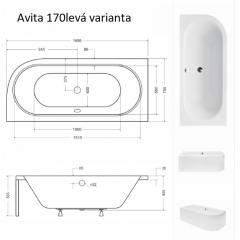 Asymetrická vana AVITA 170 x 75 cm