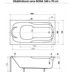 Obdélníková vana BONA 160 x 70 cm